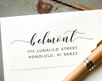 Address Stamp, Self-Inking Return Address, Personalized Rubber Stamp, Modern Calligraphy, Wedding Invitation Envelope Addressing