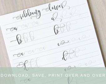 Number Names Worksheets calligraphy worksheets printable : Fancy Brush Calligraphy Lettering Worksheets by InkMeThis on Etsy