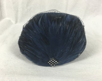 NOS Joe Bill Miller Wool Felt Hat Michael Howard Blue Feathers Rhinestones Netting Pillbox One Size Vintage Orig Tags