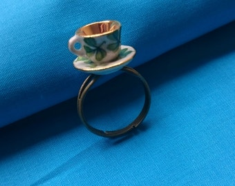 Green China Tea cup Ring