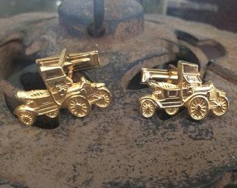 Vintage Car Goldtone Cufflinks Classic
