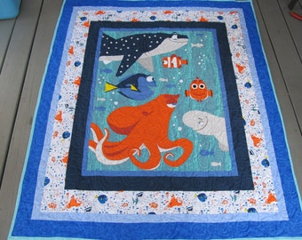 """Finding Dory Quilt - Finding Dory - Dory - Disney's Dory - Dory and Friends quilt - Disneys Finding Dory - 50"""" x 58"""""""