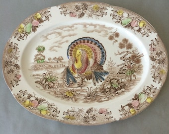 Vintage Turkey Platter - brown transferware platter   Thanksgiving platter, thanksgiving turkey decor, large serving platter, Made in Japan