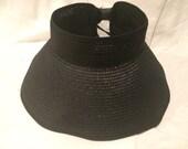 Womens Black Visor, Monogram Sun Visor, Floppy Visor, Floppy Hat, Personalized Beach Visor, Monogram Beach Hat, Sun Hat, Straw Visor