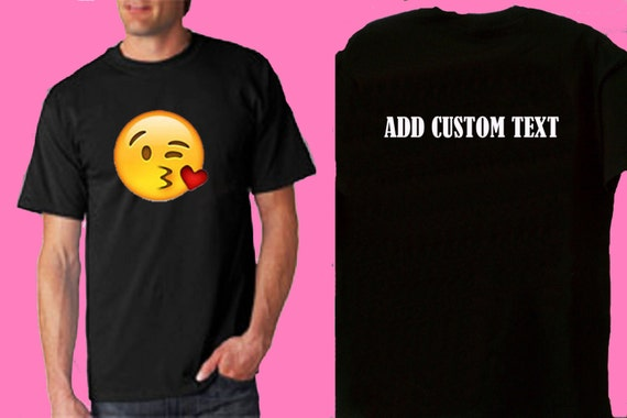 Emoji kissing his or hers t shirt add custom by for Custom t shirts add photo