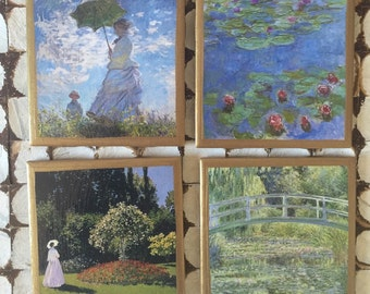 COASTERS!!! 3 sets of 4 Monet print coasters with gold trim