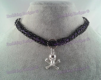 Chain link choker with ribbon and skull charm