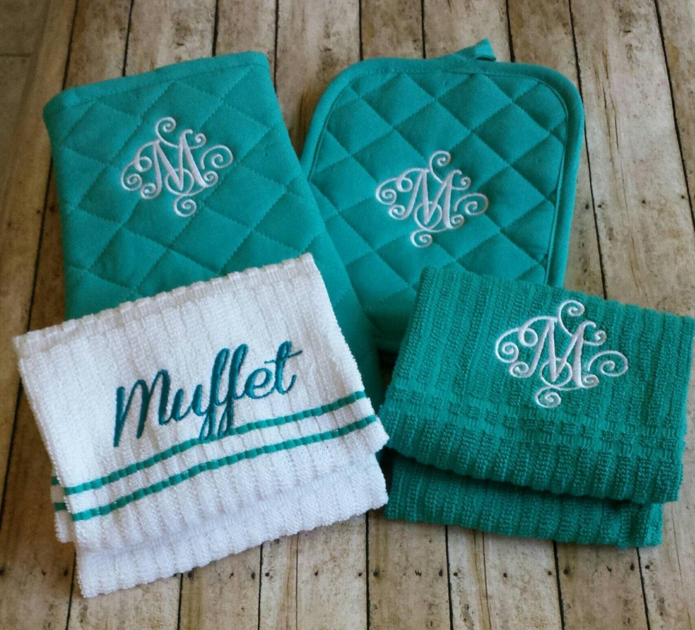 Monogrammed Kitchen Towel Set Personalized Kitchen By