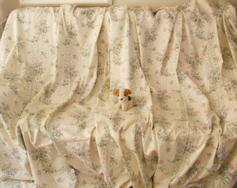 Unused vintage curtains Long cream curtains French country curtains Shabby chic curtains Cream floral curtains Rose print cream curtains