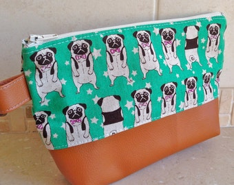 Make up Cosmetic Pouch---Pug Dog Turquoise