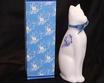Vintage Avon Milk glass Perfume Bottle Vintage Avon Decanter with Stopper Collectible Ming Cat Avon Bottle. Art Deco