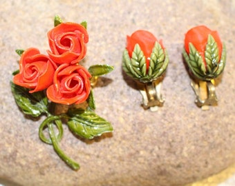 On Sale! Red Roses Enamel Flower Pin and Matching earrings