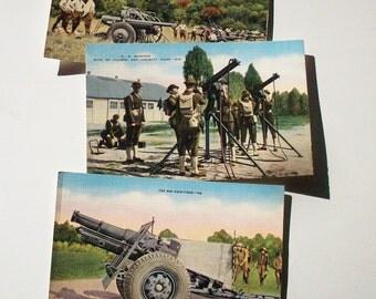 Vintage Postcards / Military Subject /  Howitzer / Anti Aircraft Guns / Field Artillary
