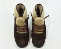SALE- 70s ITALIAN Suede PONY hair Boots Insulated Winter Dark Brown Boots Women Size 6 Euro 36 Uk 4 Lace Up Furry Bohemian Boho Booties ooak