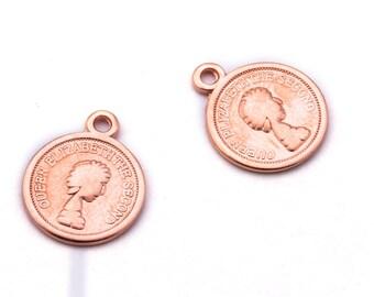 2 x pendant Rosé gold, 13 mm coin. Charm, versatile - AN01RG