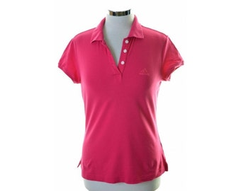 Adidas Womens Polo Shirt Size 12 Medium Pink Cotton