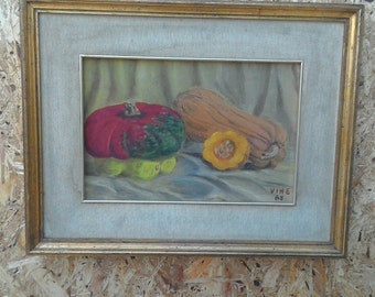 Oil painting with pumpkins-still life-decorative painting-painting for kitchen-painting-gold locket-country decor-painting on canvas
