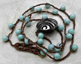 Bohemian Crochet Necklace, Light Blue Boho Crochet Necklace, Boho Hippie Chic Necklace, Gypsy Jewelry, Beach Jewelry, Layering Necklace