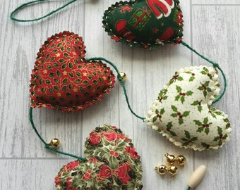 Christmas Heart Garland, Festive Heart Decoration, Xmas, Yule, Heart Christmas decoration