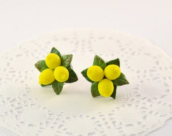 Lemon Stud Earrings or clips - Polymer clay jewelry  - Handmade lemon jewelry - Yellow citrus jewellery - Fruit earrings