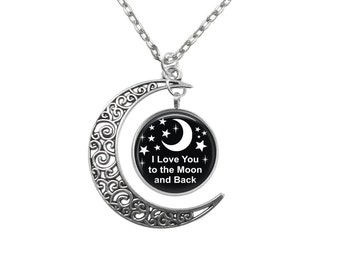 Love you to the moon Crescent Pendant choice of background V4431