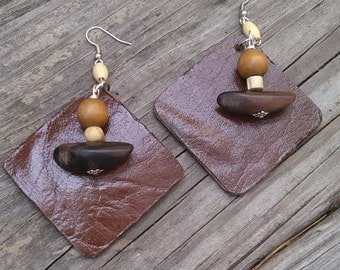 Leather Beaded Earrings, Brown Leather Earrings, Brown Earrings, Leather Earrings