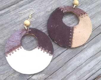 Brown Leather Patchwork Earrings