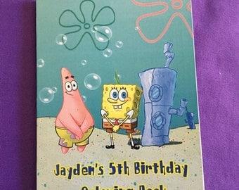 12 Personalized Spongebob Square Pants Coloring Books, Party Favors