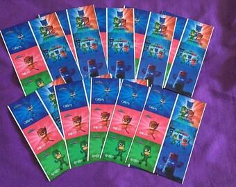 10 PJ Masks Sticker Sheets (6 stickers per sheet) Party favors