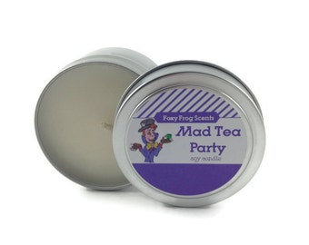Mad Tea Party Scented Soy Candle- 4oz Alice in Wonderland Candle