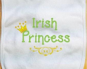 St. Patrick's Day Baby Bib, Irish Princess Baby Bib, Irish Baby Bib, custom bib, infant baby bib, girl bib, boy bib, handmade bib