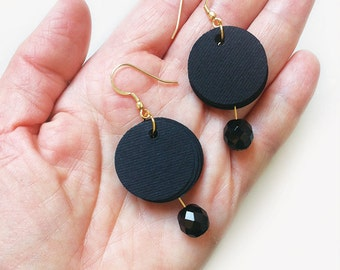 Paper earrings with black paper, dangle earrings, paper jewelry, black earrings