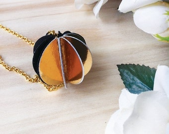 Choker, Gold and black Necklace, Paper Necklace, Paper Jewelry, Unique Jewelry, modern jewelry