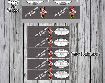 Minnie Mouse  Birthday Custom Candy Bar Wrapper and Water Bottle Labels