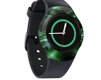 Skin Decal Wrap for Samsung Gear S2, S2 3G, Live, Neo S Smart Watch, Galaxy Gear Fit cover sticker Green Waves