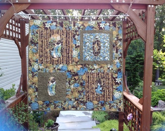 Quilted Oriental Wall Hanging with Geisha Motif in Reverse Applique