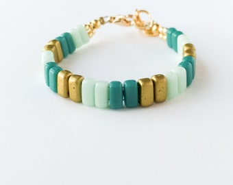 Turquoise and Mint Brick Bracelet