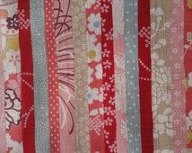 Cherry blossoms. Floral, Japanese motif. Pink,Red stripe. Japanese fabric. Japanese cotton fabric. Fabric by Half Yard. Fabric by Half Meter