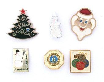 Happy New Year, Vintage metal children's badge, Xmas tree, Santa Claus, Christmas tree, Winter, Set, Soviet Vintage Pin, Made in USSR