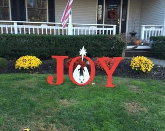 JOY Christmas Outdoor Wood Lawn Decoration