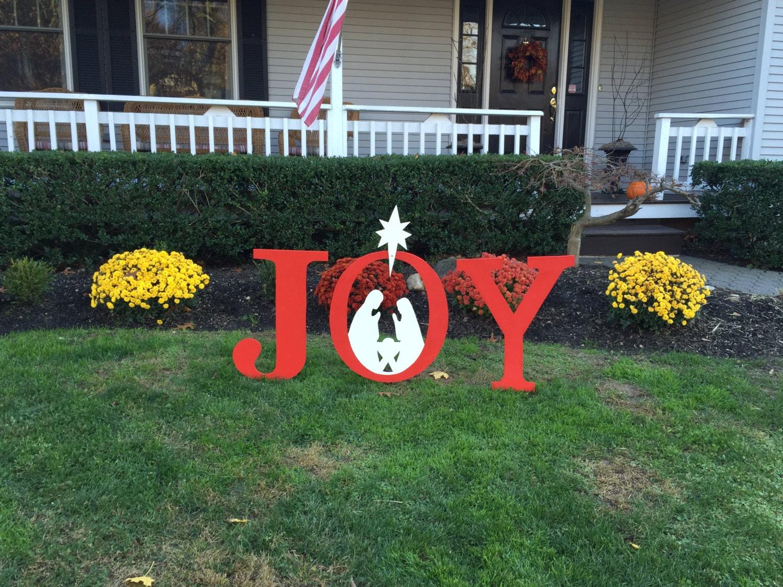 Joy Christmas Outdoor Wood Lawn Decoration