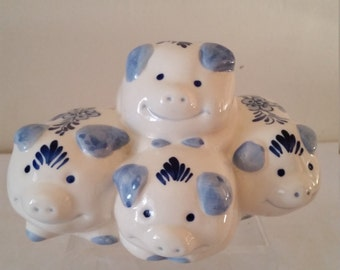 Delft Handpainted Piggy Bank with Four Pigs Delft Pggy Bank with 4 Pigs