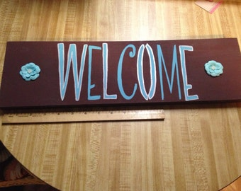 Welcome Wood Sign in Teal and Brown