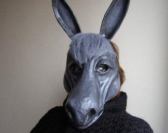 Masquerade mask Donkey mask Animal mask Donkey head Donkey costume Paper mache Donkey Paper mache mask