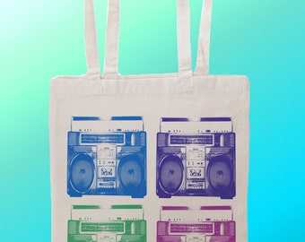 BoomBox Music Player - Reuseable Shopping Cotton Canvas Tote Bag