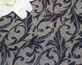 Navy Blue and Tan Chenille Home Dec Fabric Destash, F205