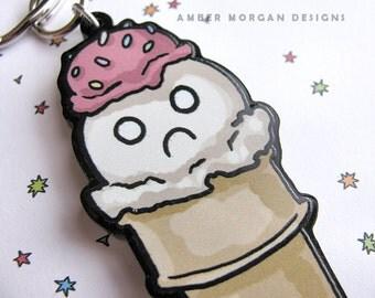 Cute Food Keychain, Ice Cream Cone Keychain, Cute Keychain, Funny Keychain, Dessert Key chain, Funny key chain, Cute food, Kawaii Key Chain