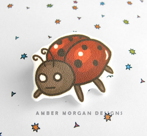 Ladybug Brooch, Cute Lady Bug Pin, Funny Bug Accessory, Funny Button, Insect Pin, Wearable Art, Kawaii, Lady Bug Lover, Cute Lady Bug