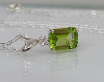 Emerald Cut Peridot Accent Necklace, 8x6mm Peridot Gemstone, Sterling Silver, Peridot Pendant, August Birthstone, Bride Necklace, Wedding