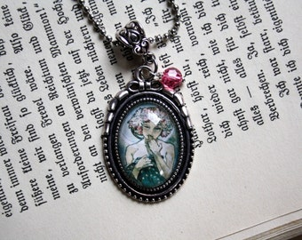 "Art Nouveau necklace ""Girl in the Moon"""